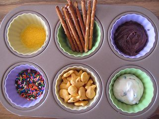 Muffin tin meal goldfish