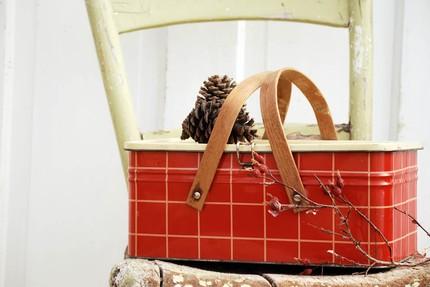 Red plaid picnic tin
